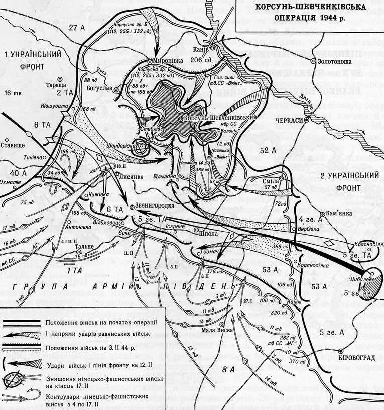 Корсунь-Шевченківська битва. Схема